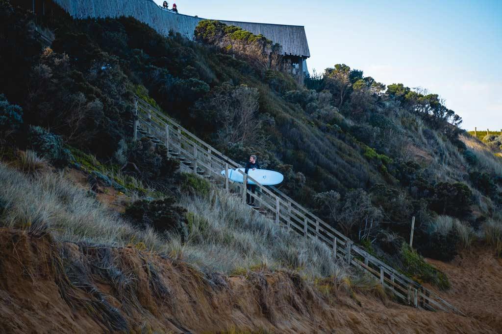 surfer at Logans Beach whale nursery