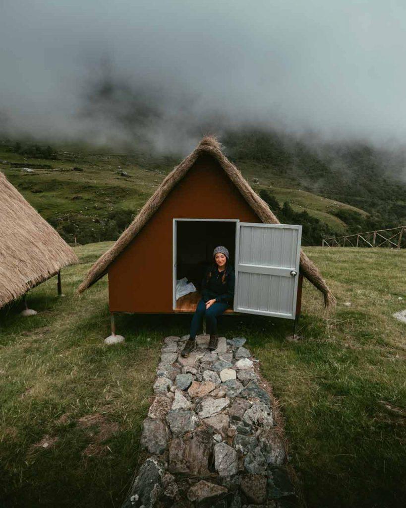 Laura in her hut on the trek